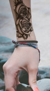4pcs Makeup Rose Flower Arm Tattoo Temporary Floral Bloosom Body Art Tattoo Sticker Long Lasting Fake Plant Tatoo Paper Fake Tattoo