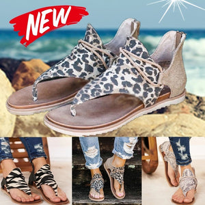 2020 Women New Fashion Flip Flops Animal Print Sandals Flats Back Zip Summer Shoes Slippers Plus Size