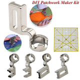 DIY Patchwork Maker Kit Sewing Machine Presser Foot Gauge High/Low Shank & Sewing Ruler