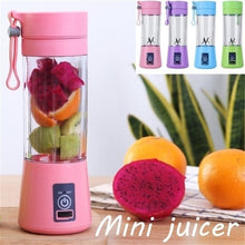 Load image into Gallery viewer, 380ml Sports Bottle Mini USB Rechargeable 6 blades Portable Electric Fruit Juicer Smoothie Maker Blender Machine