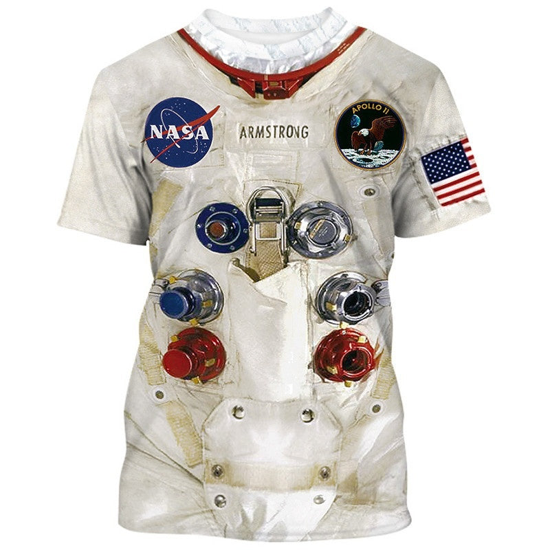 3D Armstrong Space Suite NASA T Shirt Family Matching Outfits Astronaut Funny Printed Tops for Adults/Kids