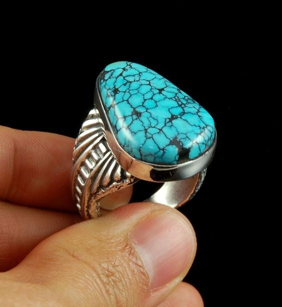 Amazing 925 Sterling Silver Natural Turquoise Diamond Ring Anniversary Gift Engagement Bridal Wedding Valentine's Day Commitment Ring Jewelry Size 5-11 Aneis Femininos