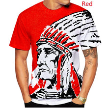 Load image into Gallery viewer, Men's Sketch Indian Chief Black O-Neck Tee Shirt American Native Tribal Spirit T-shirt