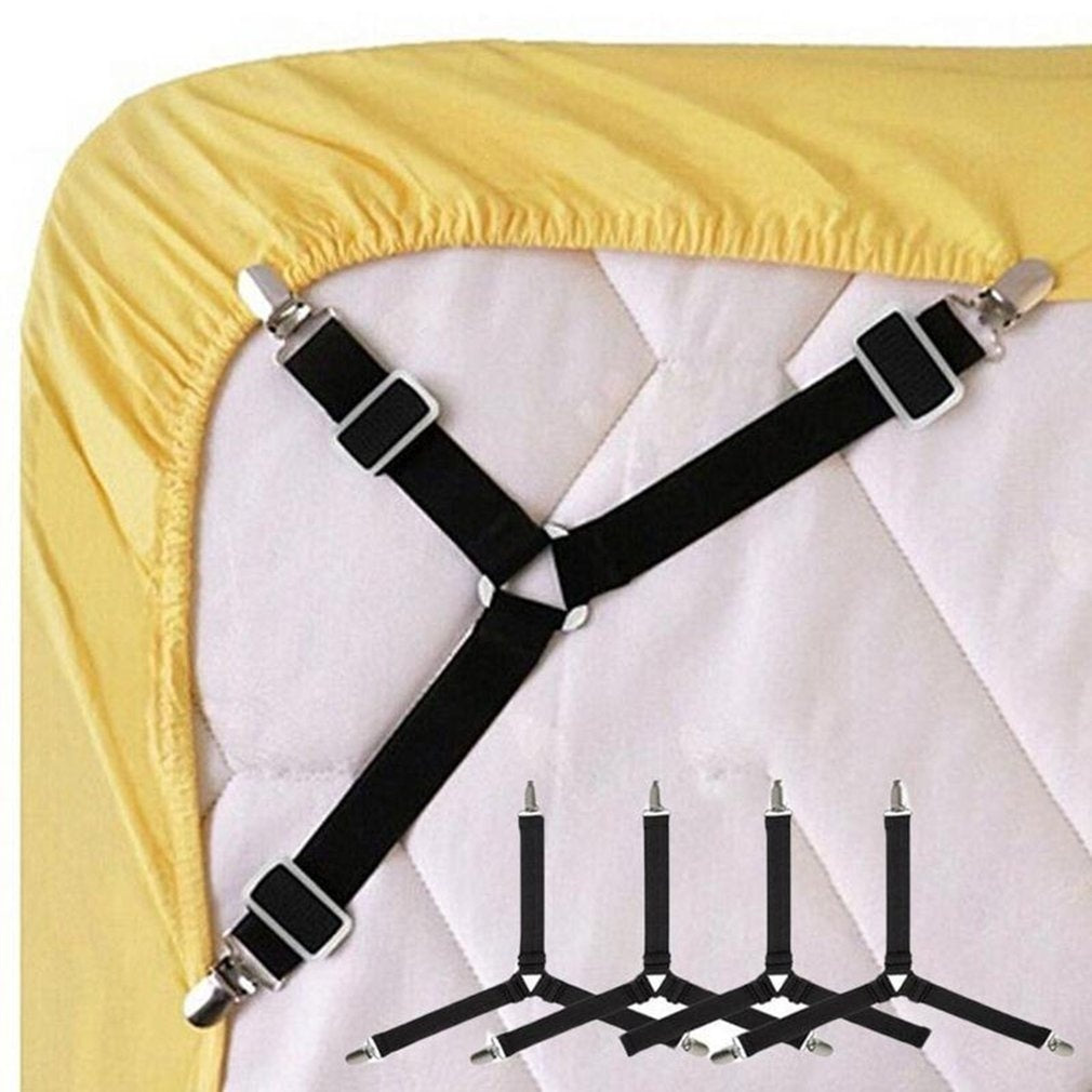 1-4PCS Triangle Bed Mattress Sheet Clips Grippers Straps Suspender Fastener Holder