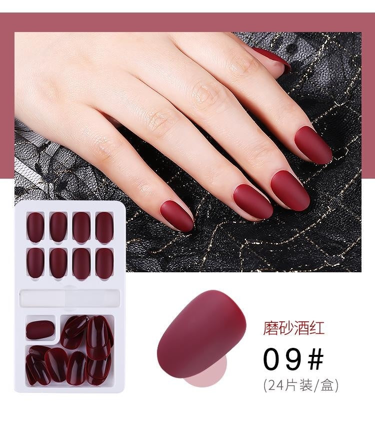 24pcs Reusable Stick-On-Nails Reusable Full Cover False Nail Artificial Tips for Decoration with Designed Press On Nails