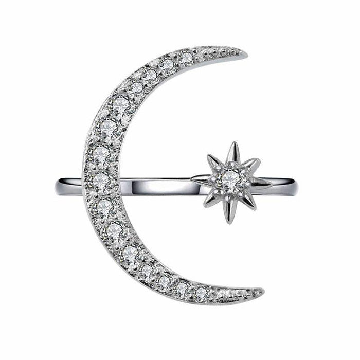 Classic 925 Sterling Silver In18K Real Gold Filled Crescent Moon & Star  Rings Diamond Rings Open Rings Engagement Bridal Rings Wedding Rings Fashion Jewelry Size 4-13US