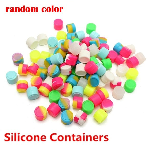 New 5Pcs Round Silicone Non Stick Concentrate Containers Jar Mixed Colors Random 3ML