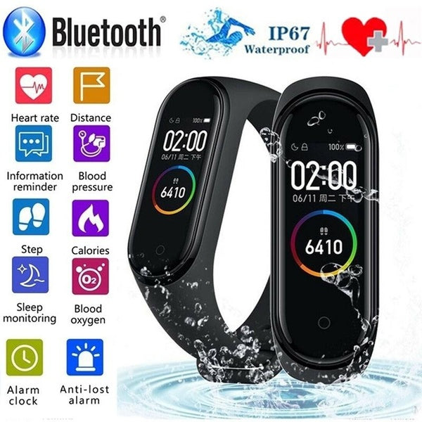 Upgraded M4 Smart Bracelet IP67 Waterproof Smart Wristband Heart Rate Blood Pressure Sleep Monitor Fitness Tracker Smartband Sport Pedometer Step Distance Calorie Counter Activity Tracker Smart Watch