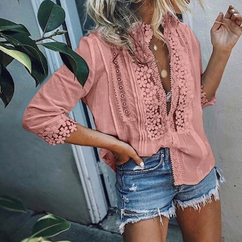 Plus Size XS-5XL Spring Summer Women's Lace Ruffled Shirts 3/4 Sleeve Patchwork Hollow Out Blouses Tops Sexy Deep V-neck Ladies Loose T-shirt