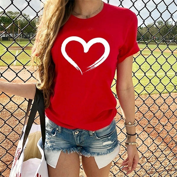 New Women's Fashion Love Print Short Sleeve T-Shirt Summer Casual Graphic Tess Tops