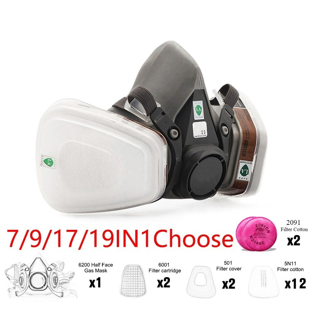 Mask 6200 19 In 1 PM2.5 Industrial Gas Mask Half Face Painting Spraying Respirator Safety Work Filter Dust Mask Dust Proof