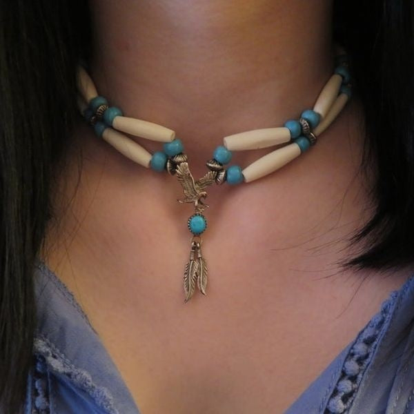 Beautiful Vintage Native American Sterling Sliver Eagle w/Round turquoise Stone Buffalo Bone choker necklace Antique Glass Blue Padre Beads