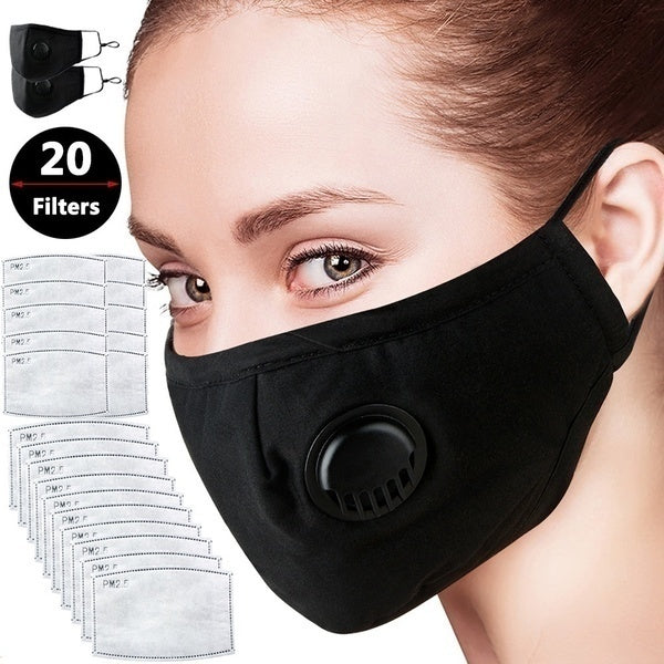 New 2pcs/pack Air Pollution Dust Mask N95 Protection Allergies Adjustable Masks with 2/4/6/8/10/12/14/16/18/20 Filters