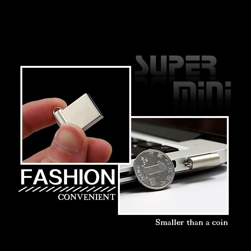 2PCS Newest Metal Super Mini Tiny unique USB Flash Drive 128GB / 64GB / 32GB Pen Drive USB2.0 Memory Stick