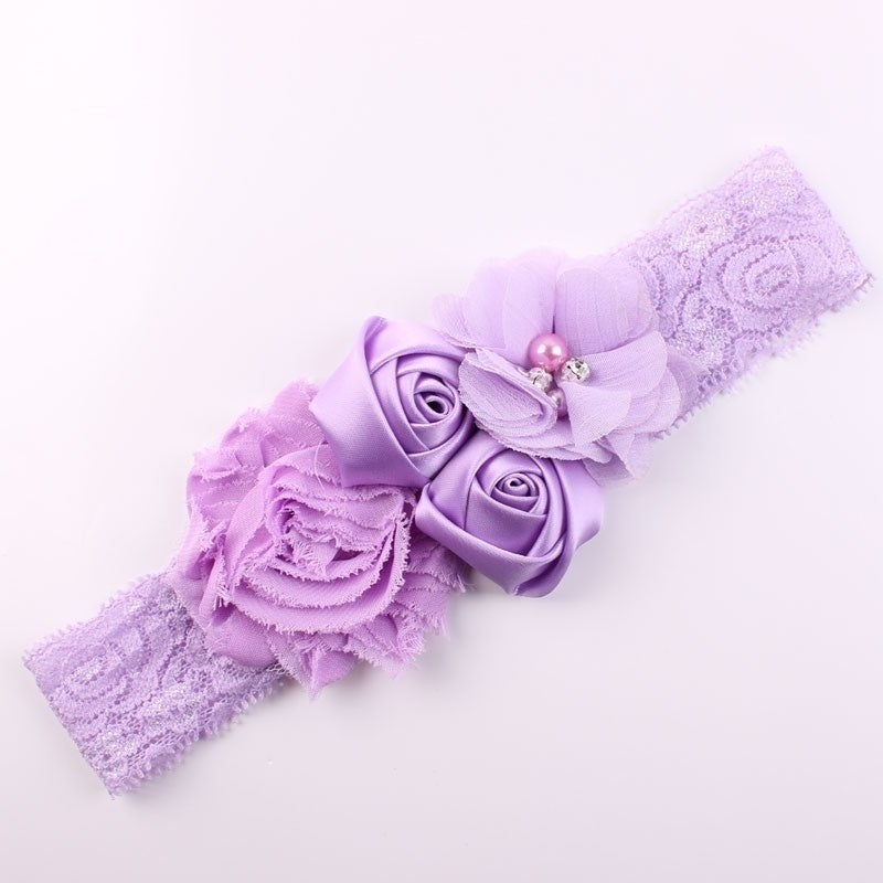 Shabby Lace Baby Headband Chic Flower Girls Headband Hair Bow Flower Headband for Children Hair Accessories
