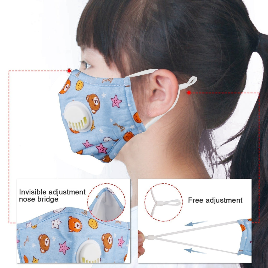 Kids Cotton PM2.5 Anti-smog Anti-Dust, Smoke, Gas and Allergies Adjustable and Reusable N95 Masks Activated Carbon Mask Protection with 10 Filters