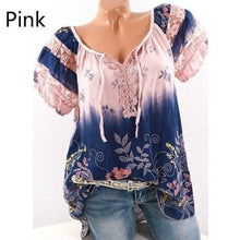 Load image into Gallery viewer, High Quality Short Sleeve Floral Printed Bandasge Shirts Women Casual Loose Blouse