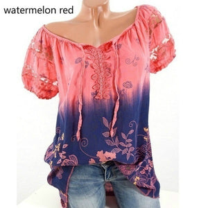 High Quality Short Sleeve Floral Printed Bandasge Shirts Women Casual Loose Blouse
