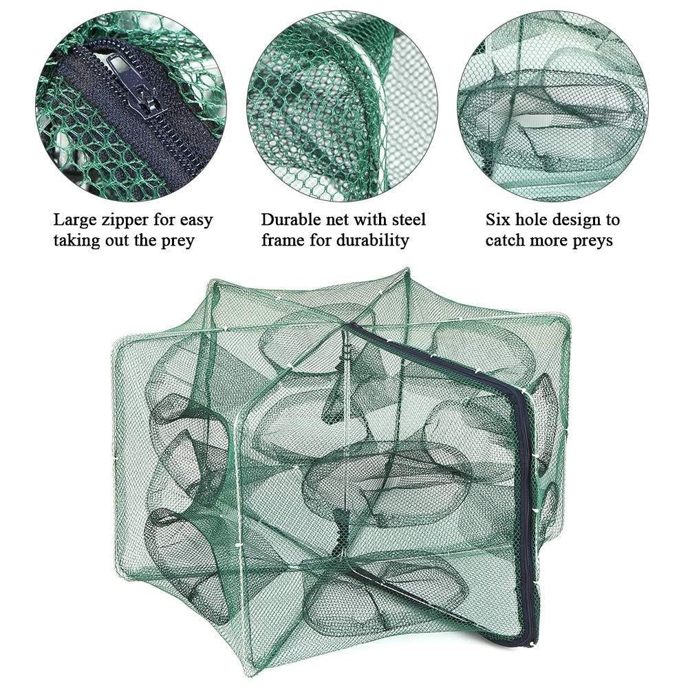 6/8/12/16 Holes Automatic Folding Fishing Net Nylon Shrimp Cage Foldable Crab Fish Trap Cast Folding Fishing Network