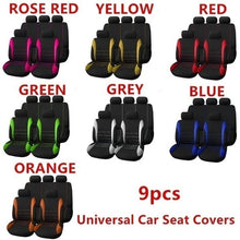 Load image into Gallery viewer, 4Pcs/9Pcs Universal Car Seat Covers Breather Car Seat Cover Full Set Car Cushion Case Cover Front Car Seat Cover Car Accessories Car Seats Car-Styling Car Interior Automobiles Green Car Seat Cover