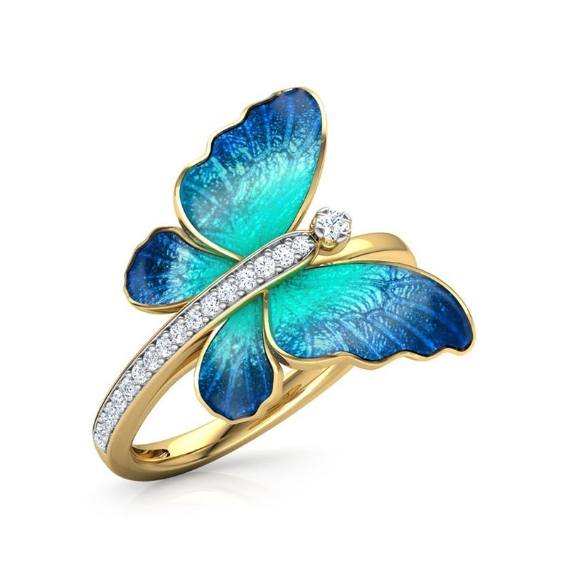 Gorgeous 18K Yellow Gold Butterfly Ring Crystal Enamel Ring Engagement Ring Women's Wedding Ring Best Gift for Valentine's Day Size 5-11