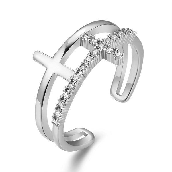 925 Sterling Silver Ladies Opening Adjustable Ring Gift Fashion Cross Accessory