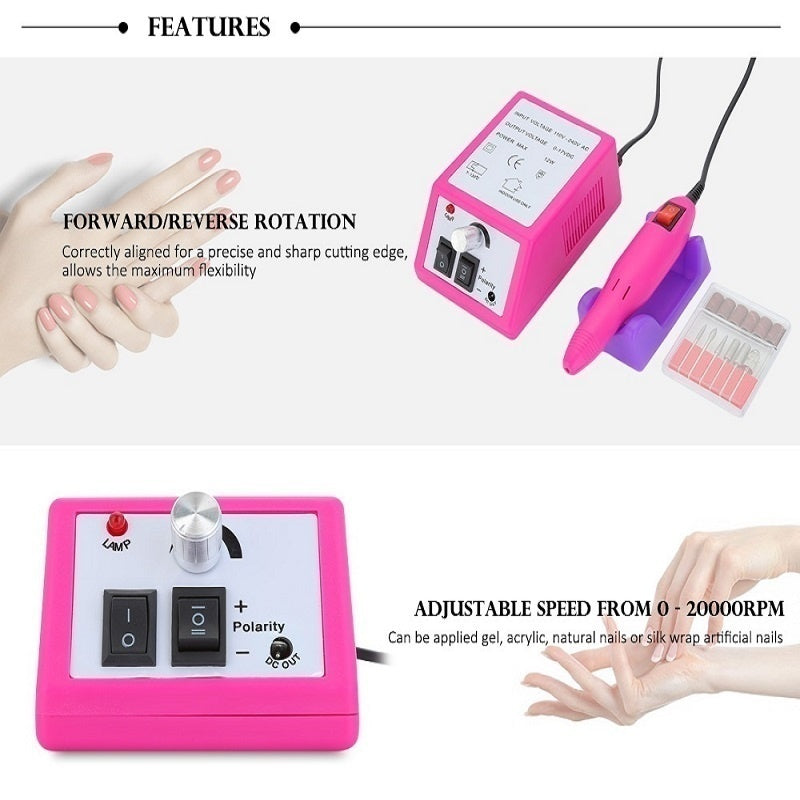 Professional Electric Nail Drill Manicure Pedicure File Sander Polisher Drilling Bits Machine Sanding Bands Grinding Drills Salon Tools