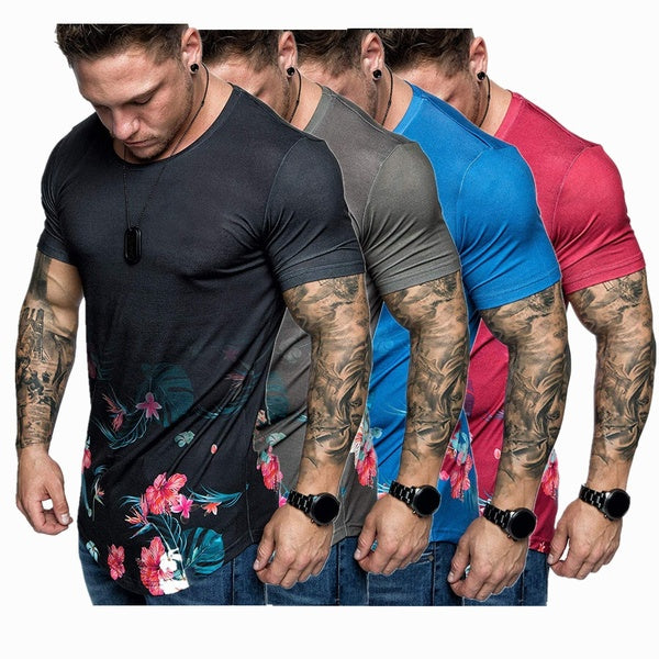 Summer Men's Short Sleeve T-shirt Printed T Shirts Men's Casual Sports Fit T-shirt Outdoor Tops