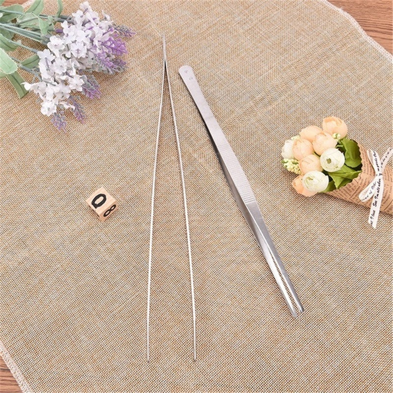 5/1Pcs Stainless Steel Long Food Tongs Straight Tweezers Kitchen Tool