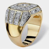 Luxurious Gold Rings for Men 18K Glod Filled 925 Sterling Silver Mens Ring Natural Gemstones Ring Wedding Band Engagement Diamond Ring Fine Jewelry Anel De Ouro