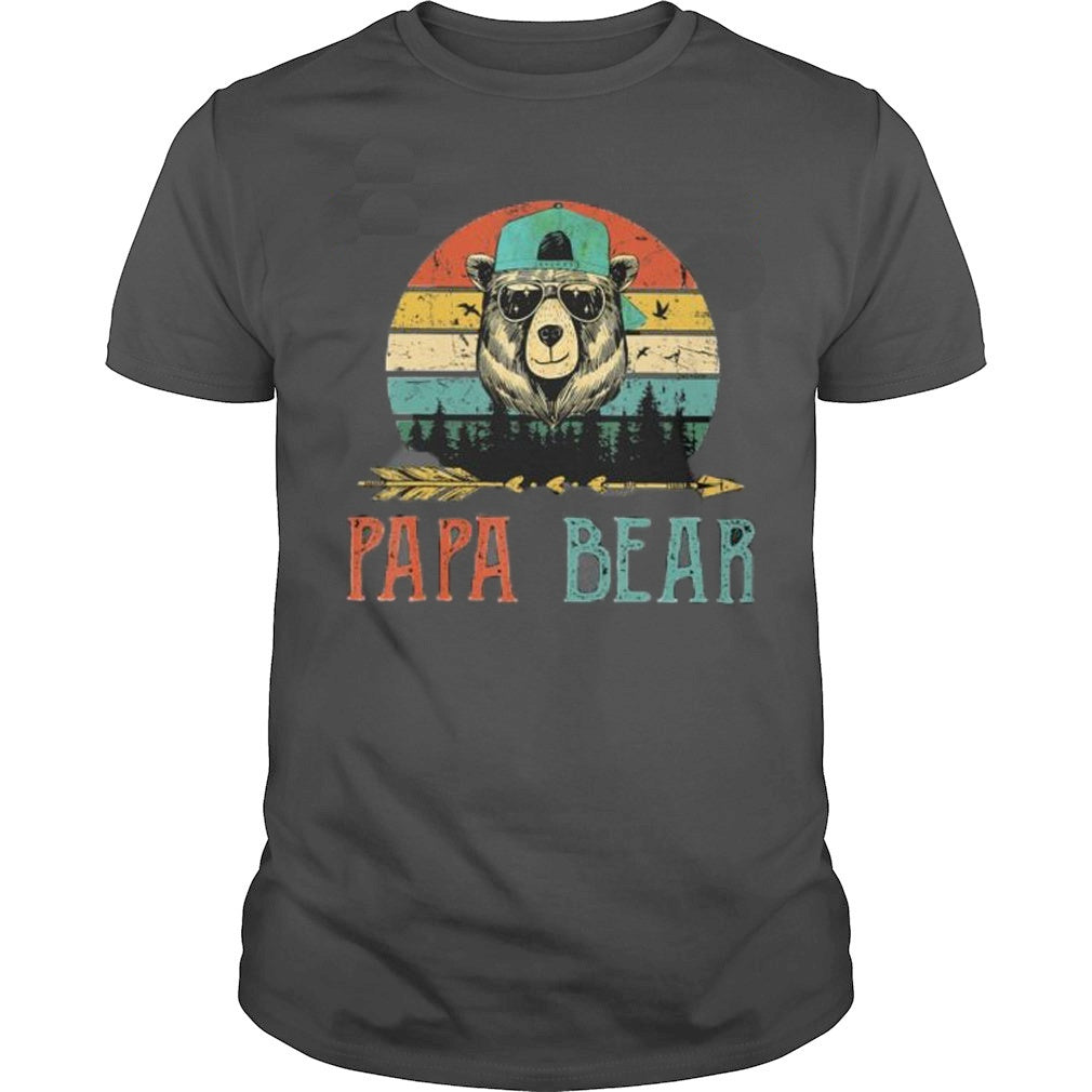 2020 Men's Fashion O-neck Short Sleeve Papa Bear Printing Casual Cotton Funny T Shirt Father's Gift