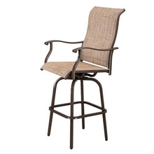 Load image into Gallery viewer, 2pcs Wrought Iron Swivel Bar Chair Patio Swivel Bar Stools Brown
