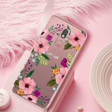 Juno Pink Flower TPU Case For Samsung Galaxy A20/A30/A50; LG Stylo 5/5+ Plus/5v/5x, Aristo 4 Plus/K30 2019