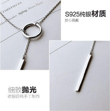 Load image into Gallery viewer, 925 Sterling Silver Jewelry Circle Strip Long Chain Necklace collares kolye bijoux femme Choker Necklace