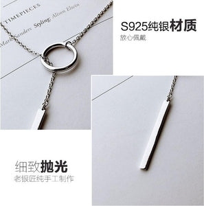 925 Sterling Silver Jewelry Circle Strip Long Chain Necklace collares kolye bijoux femme Choker Necklace