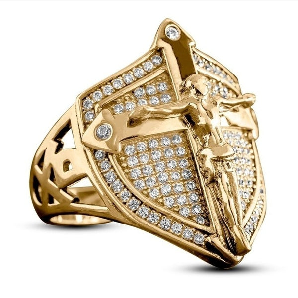 Exquisite Mens Ring Luxury 18K Gold Plated Mens Rings Son of God Christian Savior Jesus Crucifixion Cross Diamond Jewelry Shield Shape Hip Hop Men Punk Style Accessory Ring for Him Boyfriend Husband Father Size  6-13
