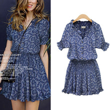 Load image into Gallery viewer, Women Mini Dress V-neck Dress Printing Pleated Summer Short Sleeveless Cotton