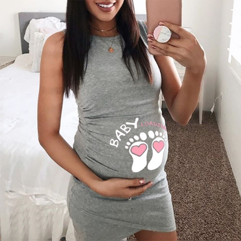 New Fashion Women Summer Sleeveless Pregnancy Mom Dresses BABY LOADING Letter Print Maternity Plus Size Dress for Pregnant Woman