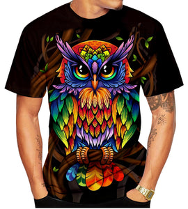 New Owl 3D lovers printed personalized men T-shirt