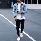 Men's Classic Ripped Jean Jackets Casual Long Sleeve Lapel Cowboy Denim Coat Outwear