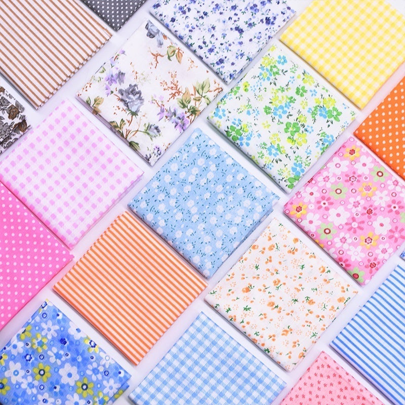 7Pcs 25x25cm Printed Cotton Fabric Cloth Sewing Quilting Fabrics for Patchwork Needlework DIY Handmade Accessories Doll Clothes