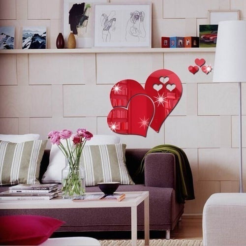 3D Acrylic Mirror Effect Clock Mirror Hearts Decal DIY Living Room Art Mural Decor Removable Wall Stickers
