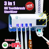 2020 Hot 3-in-1 UV Light Sterilizer Toothbrush Holder Cleaner & Automatic Toothpaste Dispenser
