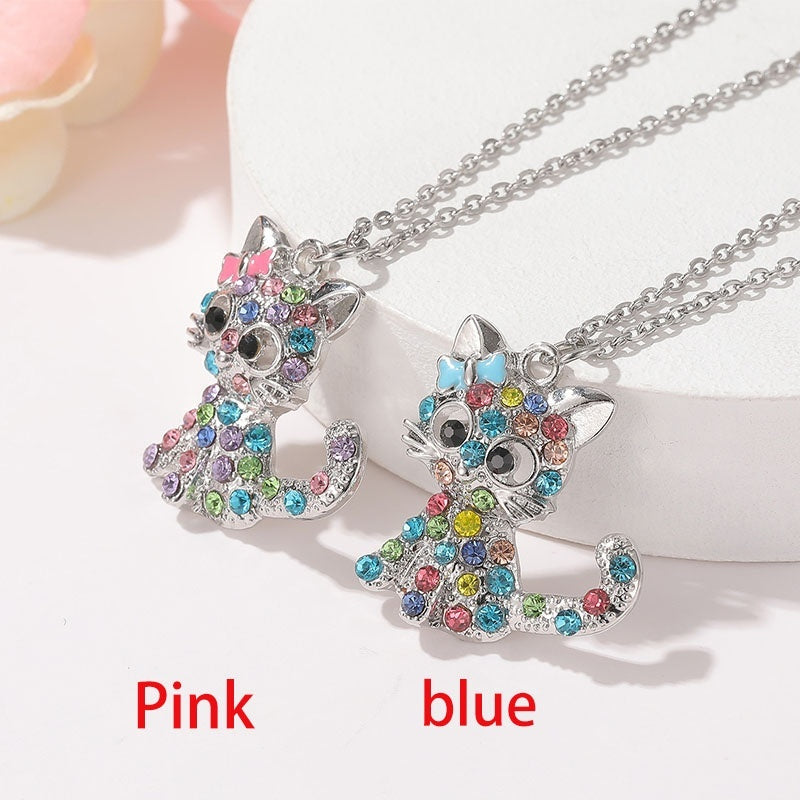 Unique Cat Necklace 925 Sterling Silver Color Cubic Oxidized Diamond Cartoon Animal Necklace Bride Wedding Engagement Anniversary Birthday Gift Jewelry