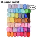 Upgraded Needle Felt Kit A Set of Wool In 36/50 Colors Felting Starter Kit with Wool Felt Tools and Storage Box