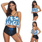 Women Beach Casual Bikini Backless Tankini Deep V Strap Printed Swimwear Bikini Swimsuits
