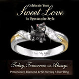 I Love My Kitty' Exquisite and Fashion 925 Sterling Silver Jewelry Two Tone 18k Gold Romance Wedding Band Charming White Sapphire Diamond Rings Cute Black Cats Ring Proposal Anniversary Engagement Gift Rings Size 5-11