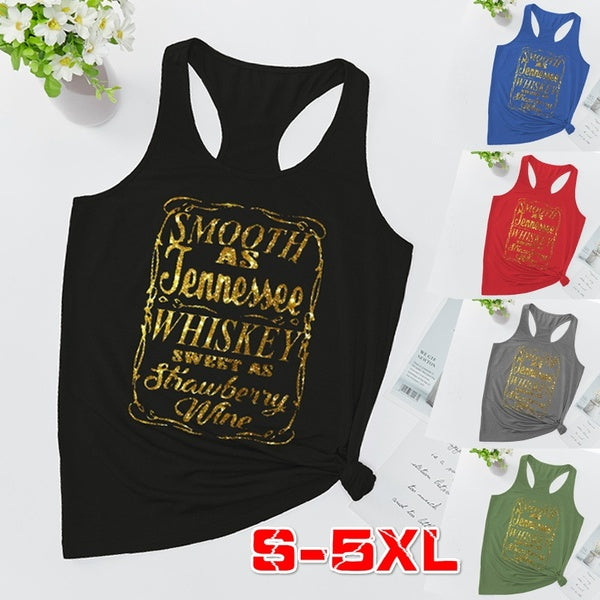 Smooth As Tennessee Whiskey, Country Sleeveless Tops for Women, Country Tees for Women, T-shirts for Women, Vest for Women, Country Music Shirts Tank Tops