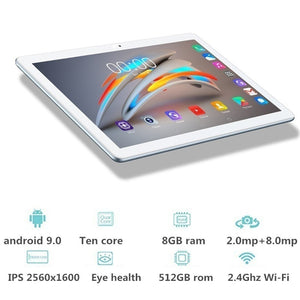 SHDU tablet android 9.0 ten core 10.1 inch IPS 2560*1600 8GB ram + 512GB rom wifi dual sim card call phone tablets pc