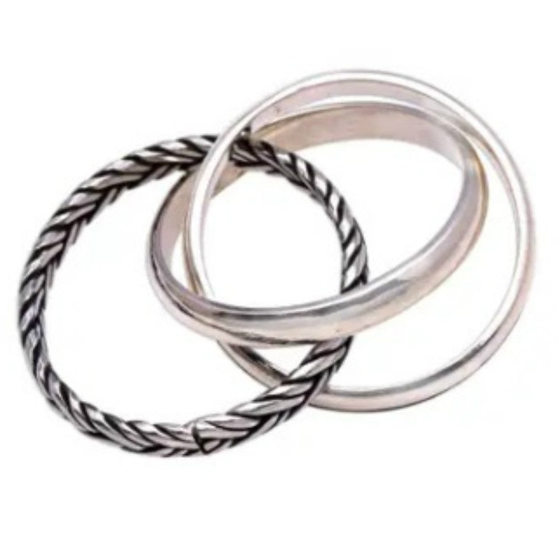 Combination Pattern 925 Sterling Silver Band Ring from Bali, 'Appealing Trio'